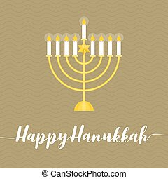 Happy Hanukah calligraphic wth menorah, flat design vector