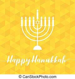 Happy Hanukah calligraphic with menorah, silhouette design...