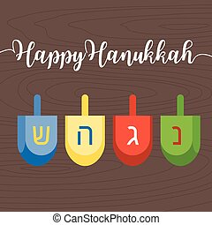Happy hanukkah caligraphic hand writing with dreidel, flat...
