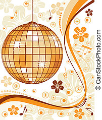 Floral background with discoball and wave pattern, element...