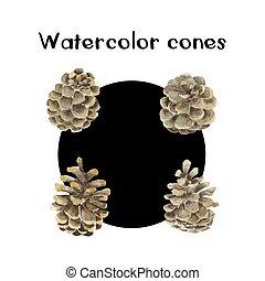 Vector Watercolor Pinecones Set