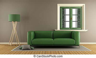 Living room with sofa and window