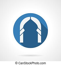 Islamic type of arch flat blue round vector icon - White...