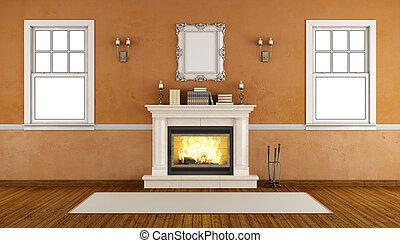 Empty retro room with fireplace