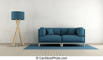 Minimalist living room with blue sofa and floor lamp - 3d...