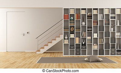 Living room with bookcase and staircase