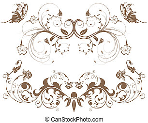 Collect flower border with butterfly, element for design,...