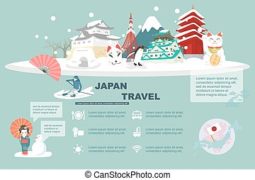 Japan travel element with snow in winter