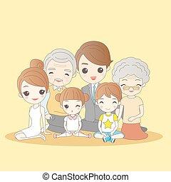 caricatura, familia, feliz