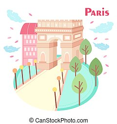 cartoon Arc de Triomphe in the paris great to travel