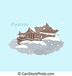 Japan Kiyomizu or Kiyomizu-dera temple at Kyoto with snow in...