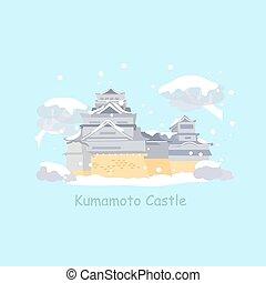 cute cartoon japan kumamoto castle in winter