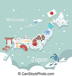 cute cartoon japan element with snow in winter