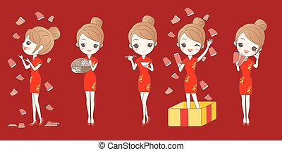 cartoon woman wear cheongsam