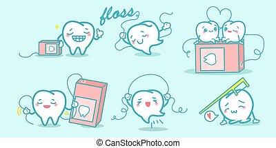 Cartoon teeth playing with floss - Cartoon teeth enjoy...