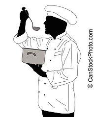 kitchen chef tasting soup