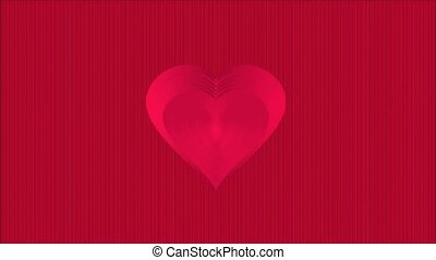 Video Valentine heart red striped background - Video...