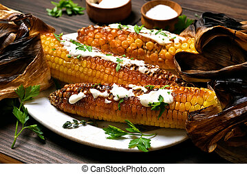 Grilled corn cobs on plate - Grilled, roasted, bbq corn cobs...