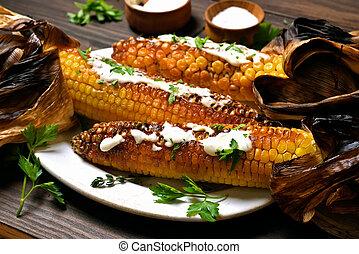 asado parrilla, placa, maíz, Mazorcas