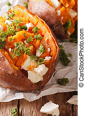 whole sweet potato baked with feta cheese and parsley macro....