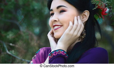 Young asian woman pose to photographer - Young asian woman...