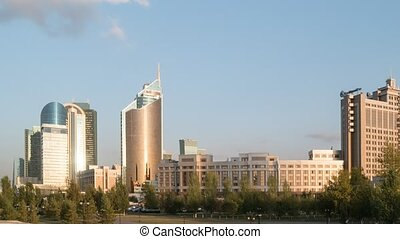Sunset in Astana. View of the skyscrapers. Kazakhstan....