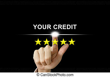 business hand pushing your credit on screen - business hand...