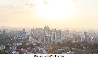 Sunset over the city of Alma-Ata. Kazakhstan. TimeLapse....