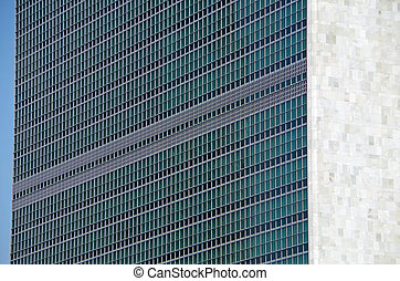 United Nations Building exterior closeup view
