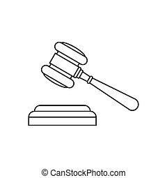 Judge gavel line icon on white bckground
