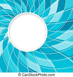 Abstract white round shape with digital blue pattern. Vector background.
