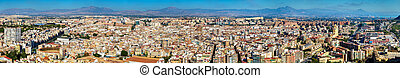 Panorama of Alicante from Santa Barbara Castle, Spain -...