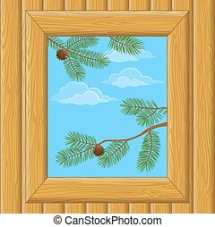 Wood Window with Pine Branches - Background with Wooden Wall...