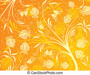 Floral pattern with butterfly, element for design, vector...