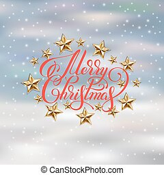 holiday background with golden stars and handwritten merry...