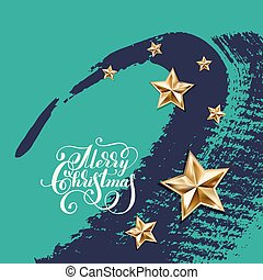holiday background with golden stars and handwritten lettering
