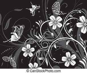 Abstract flower pattern with butterfly, element for design,...
