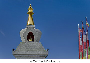 Closeup view of Buddhist stupa Sofia in the Retreat Center...