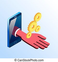Isometric smartphone showing hand with gears - Isometric...