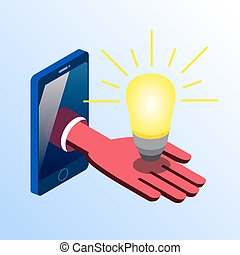 Isometric smartphone showing hand with light bulb -...