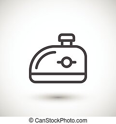 Motorcycle gas tank line icon isolated on grey. Vector...