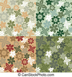 Seamless flower pattern - Four variants of color camouflage...