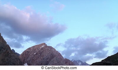 Clouds over mountains. Time Lapse. Pamir, Tajikistan ....