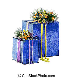 Watercolor Christmas presents in boxes on a white background