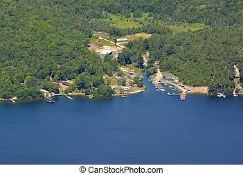 Harrison Landing marina, Parry Sound aerial - aerial view of...