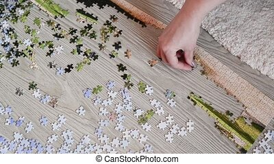 People collect puzzle of picture on the floor - People...