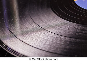 Vinyl record in close up