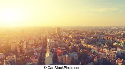 Aerial Drone Flight Footage: Picturesque View of Kiev...