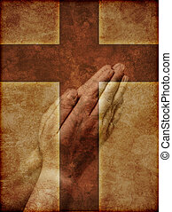 Praying Hands and Christian Cross - Praying Hands...