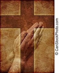 orando, mãos, cristão, crucifixos